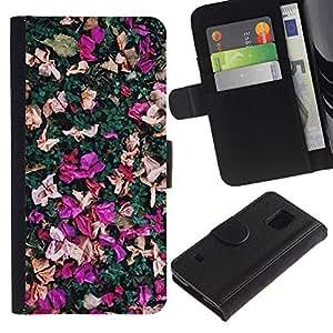 Billetera de Cuero Caso Titular de la tarjeta Carcasa Funda para Samsung Galaxy S5 V SM-G900 / Petals Colorful Purple Pink Red / STRONG