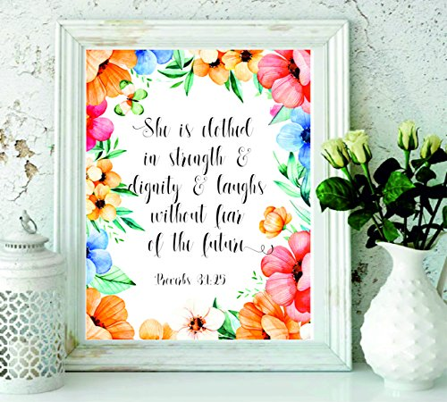 Nursery bible verse art print - She is clothed in strength and dignity Proverbs 31:25 - Scripture art print - home decor -Nursery wall art Christian - Bible verse wall art - christian wall decor#WP#53