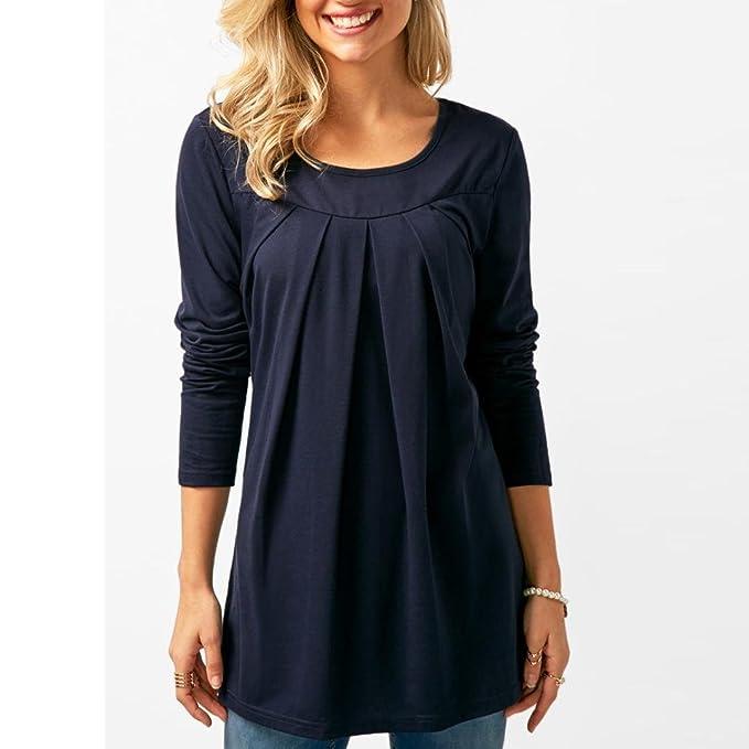 ❤ Camiseta Plisada de Mujer Casual,Blusa de Manga Larga con Cuello en V sólida de Moda Absolute: Amazon.es: Ropa y accesorios