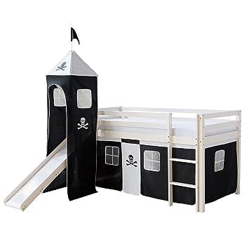 Homestyle4u 1550 Kinder Hochbett Mit Rutsche Leiter Turm Vorhang