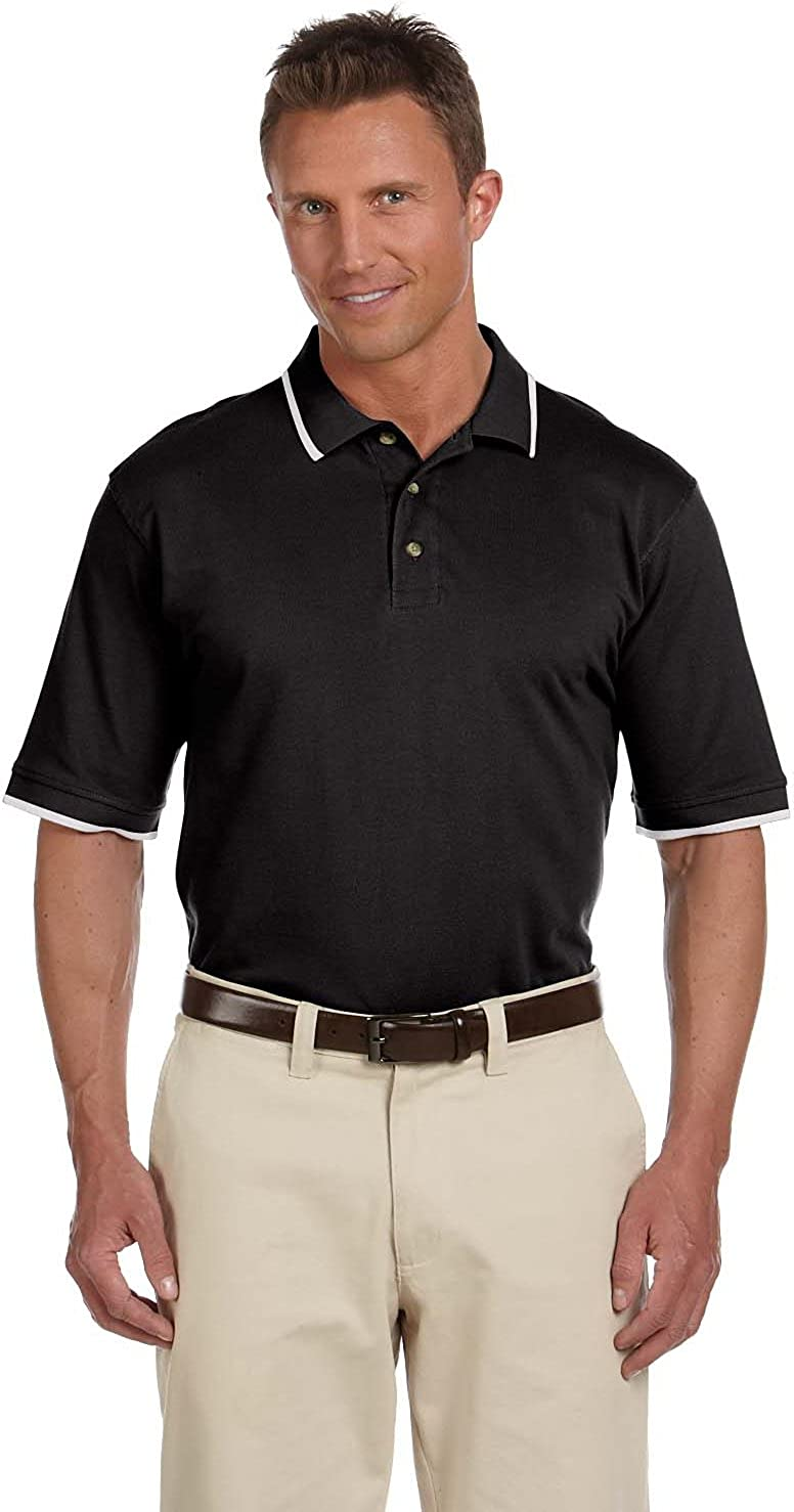 Harriton Mens 6 oz Short-Sleeve Piqu/é Polo with Tipping