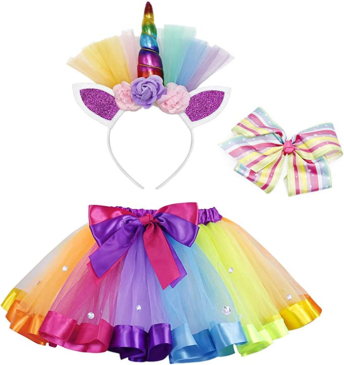 AmzBarley Disfraz de Unicornio para niña Falda de tutú arcoíris ...