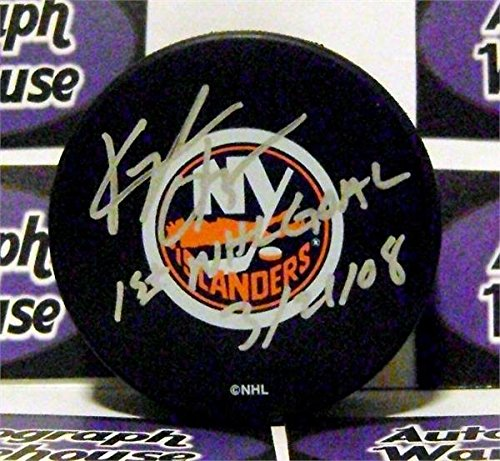 Kyle Okposo autographed Puck (New York Islanders Hockey SC) Inscribed 1st NHL Goal with free display case AW Certificate of Authenticity