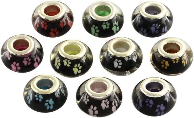 14x9mm NBEADS 100PCS Mixed Color Large Hole Dog Paw Prints Pattern Acrylic European Beads for Necklace Bracelet Jewelry Making