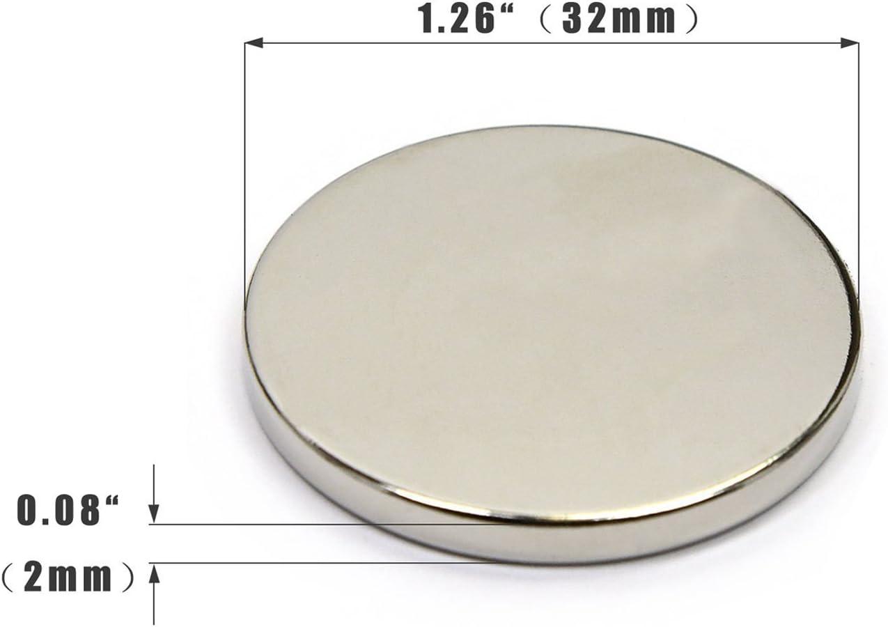 Neodym Magnete,magnet selbstklebend,magnete f/ür magnettafel,Magnettafeln,Glas Magnetboards Neodym Magnet Extra stark,32x2 mm Extrem Stark 6 St/ück Magnete,FEYG Magnete Stark