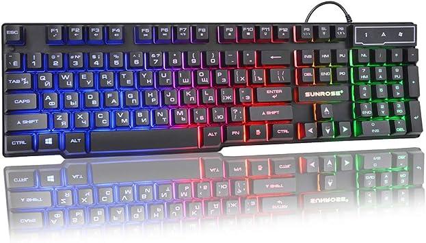 Sunhoyu Mini teclado ruso ultrafino, teclado para juegos con ...