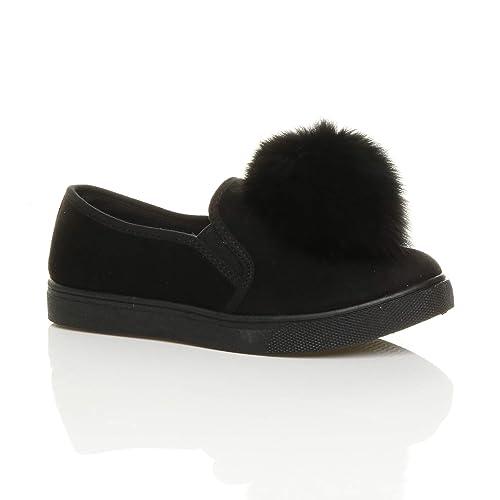 Plano Mujer Pompón Zapatillas Sin Cordones Zapatillas Zapatillas de Lona Zapatos Talla - Negro, 40: Amazon.es: Zapatos y complementos