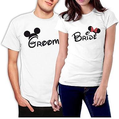 9286889f picontshirt Groom & Bride MM Couple T-Shirts Men XXL/Women XS White