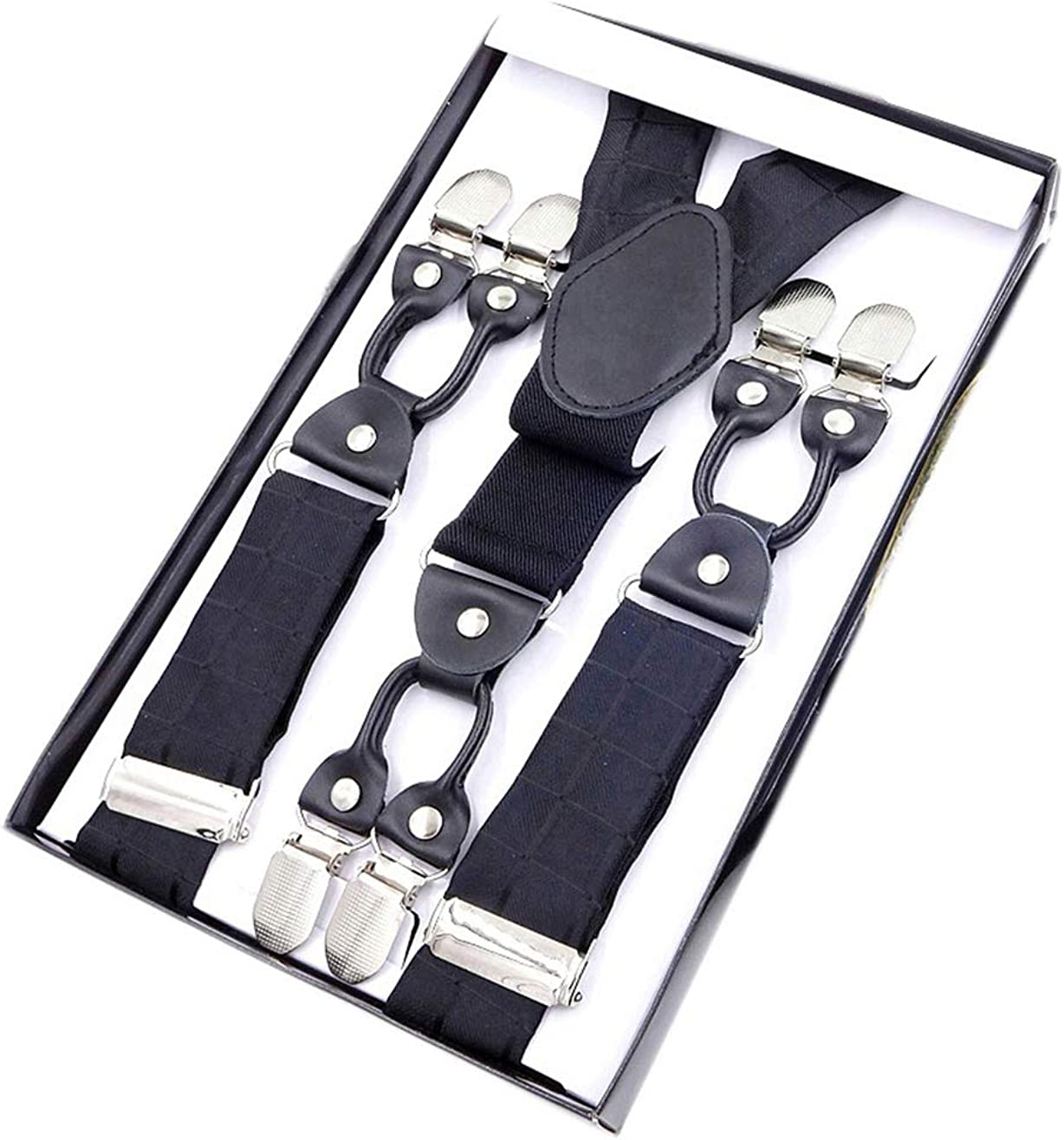 MENDENG Paisley Suspenders for Men Heavy Duty 6 Clips End Braces with Gift Box