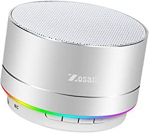 Zosam Mini Wireless Speaker, Portable Bluetooth Speaker with HD Sound, 4H Playing Time, Built-in Mic, SD/TF Card Slot, FM and LED Moodlights for Home, Travel (Silver)