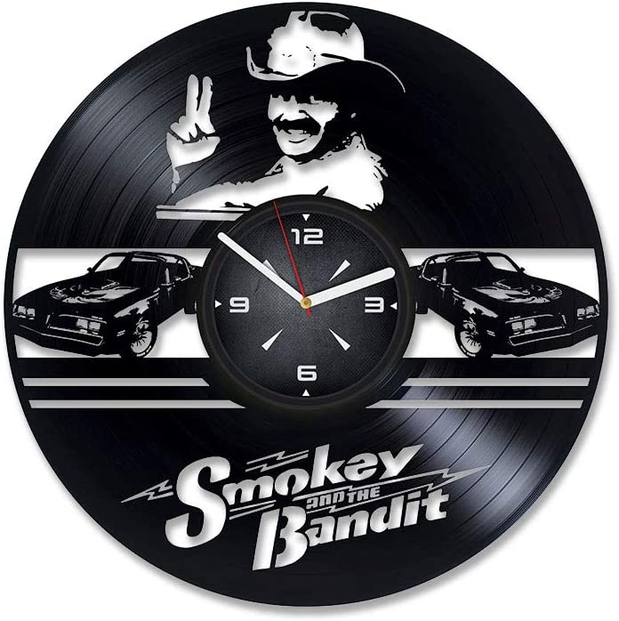 Smokey and The Bandit Movie Vinyl Record Wall Clock. Decor for Bedroom, Living Room, Kids Room. Gift for Men or Women. Christmas, Birthday, Holiday, Housewarming Present.
