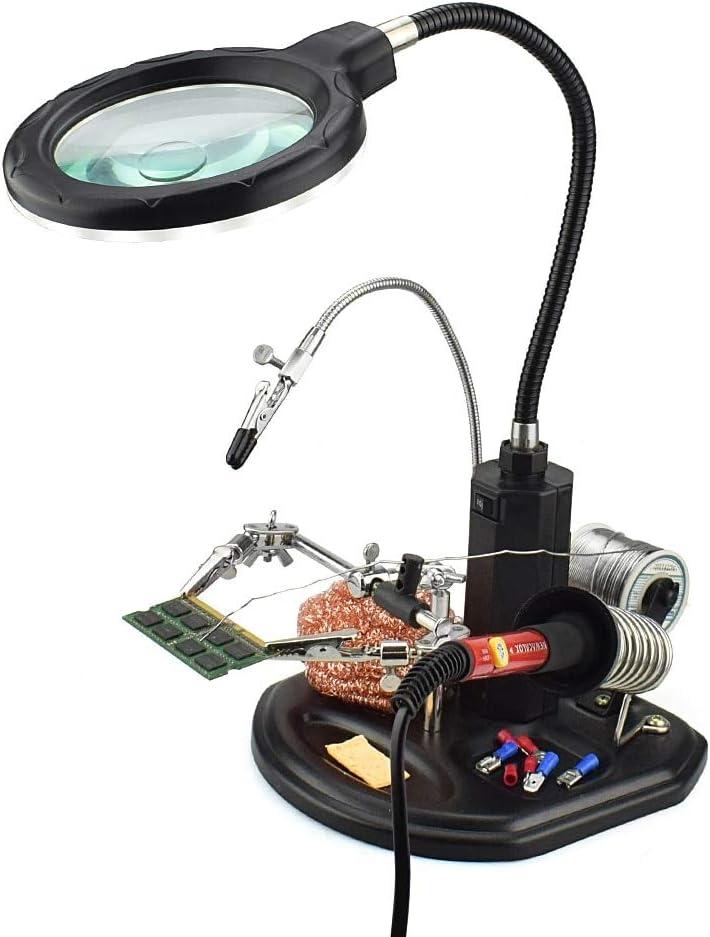 MMOBIEL Estación de ayuda con magnificación de uso rudo 2.5X 4X Soporte lupa manos libres con luz LED abrazadera y clips