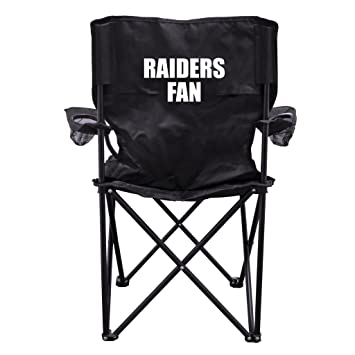 Raiders Fan Black Folding Camping Chair With Carry Bag