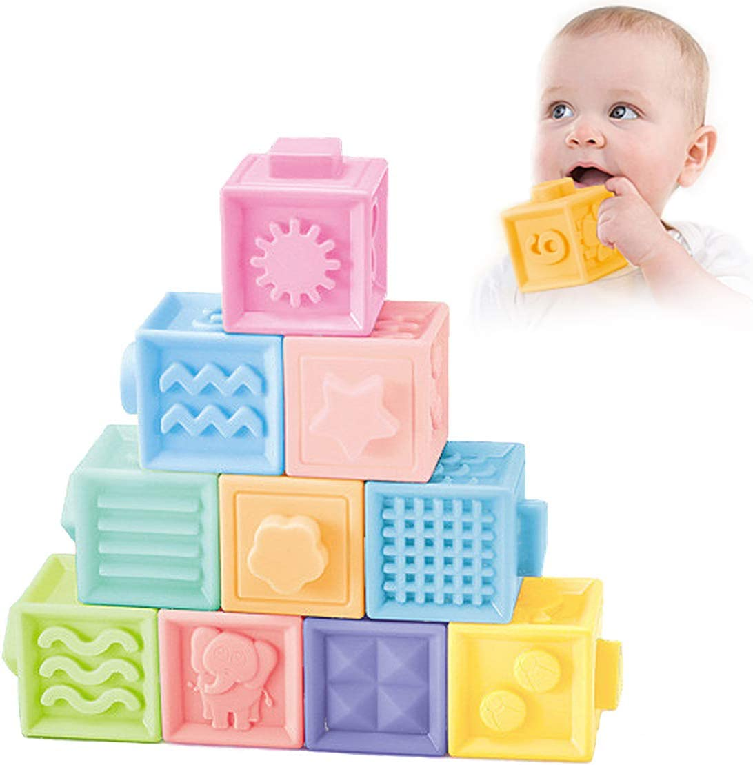 Educational Baby Toys for Teethers Chewing Montessori Infant Bath Toy Sensory Squeeze Toys for Toddlers Boy and Girl 1-3 12 Pieces Soft Stacking Building Blocks KLT Baby Blocks 6 Months and up