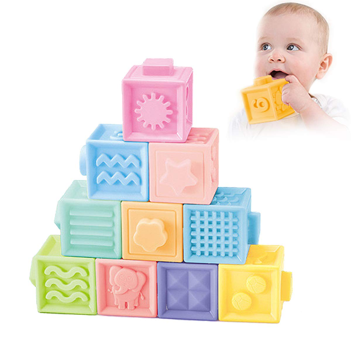 NUOEY Baby Blocks Soft Building Blocks Teething Chewing Toys Early Educational Squeeze Stackable Baby Toys Play with Number,Animals,Textures and Matching Game for 0-3 Years