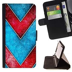 Momo Phone Case / Flip Funda de Cuero Case Cover - Modelo de Chevron del rojo azul de la acuarela - Samsung Galaxy S5 Mini, SM-G800