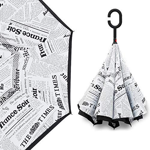 LPLPLL Umbrella Upside-Down Umbrella Reverse-Folding-Type Umbrella Self-Supporting Umbrella Rain-and-Fall combinedly C-Type Hand on Hand 8 Bones Water Repellant Wind Resistant Strong 210T Not wetable