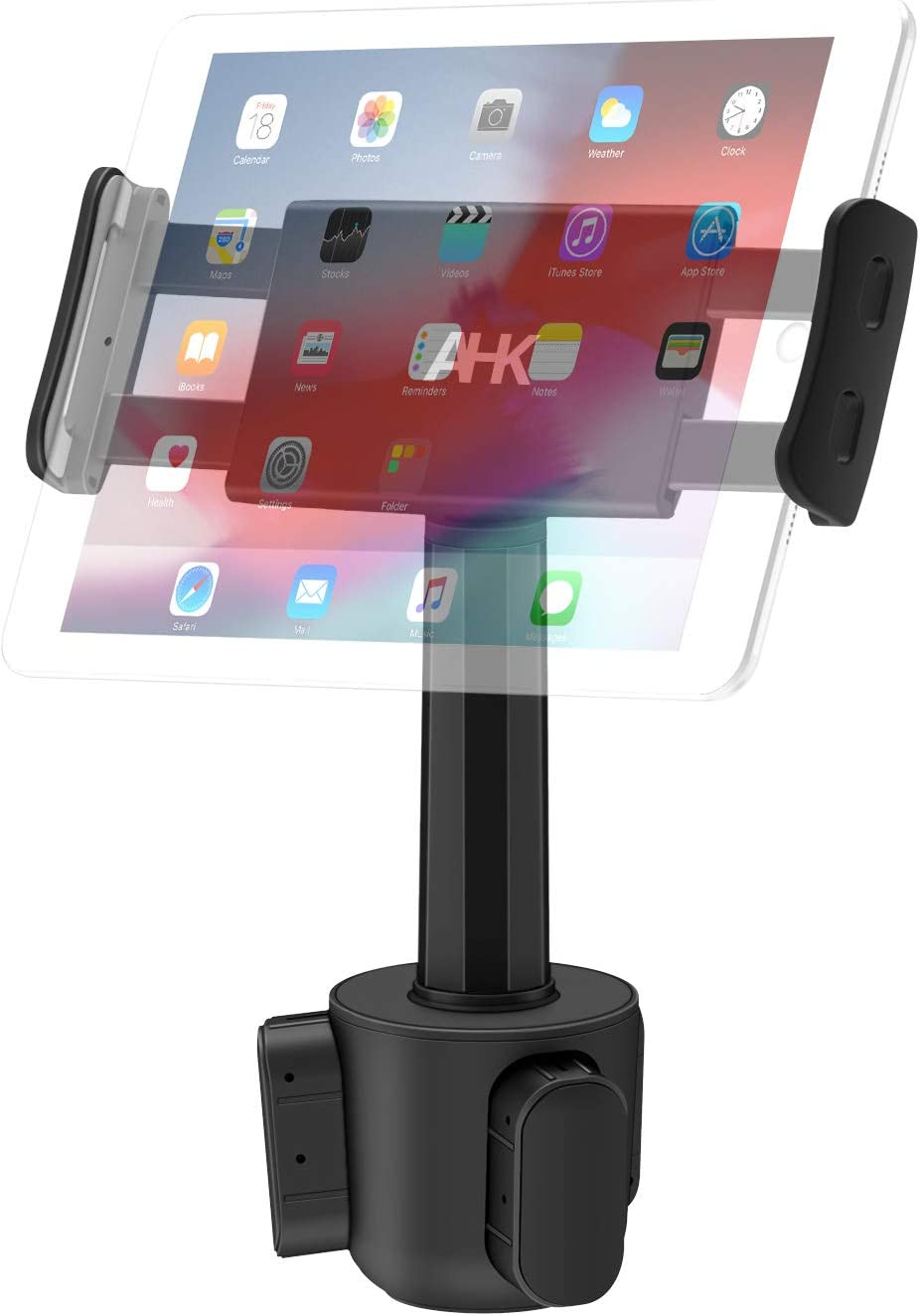 "Car Cup Holder Tablet Mount, AHK Universal Tablet & Smartphone Car Cradle Holder for iPad Pro/Air/Mini, Kindle,Tablets Nintendo Switch Smartphones, Compatible with 4.4"" to 11"" Devices"
