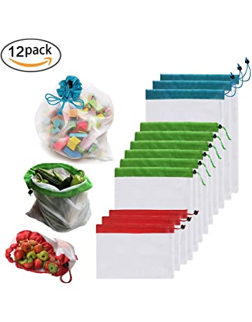 437e6cef9 Enshant Bolsas Compra Reutilizables, 12pcs Ecológicas Bolsa de Malla para  Almacenamiento Fruta Verduras Juguetes Lavable