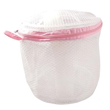 Ropa interior de malla de nailon para la ropa sucia de lavado rosa con cremallera bolsa