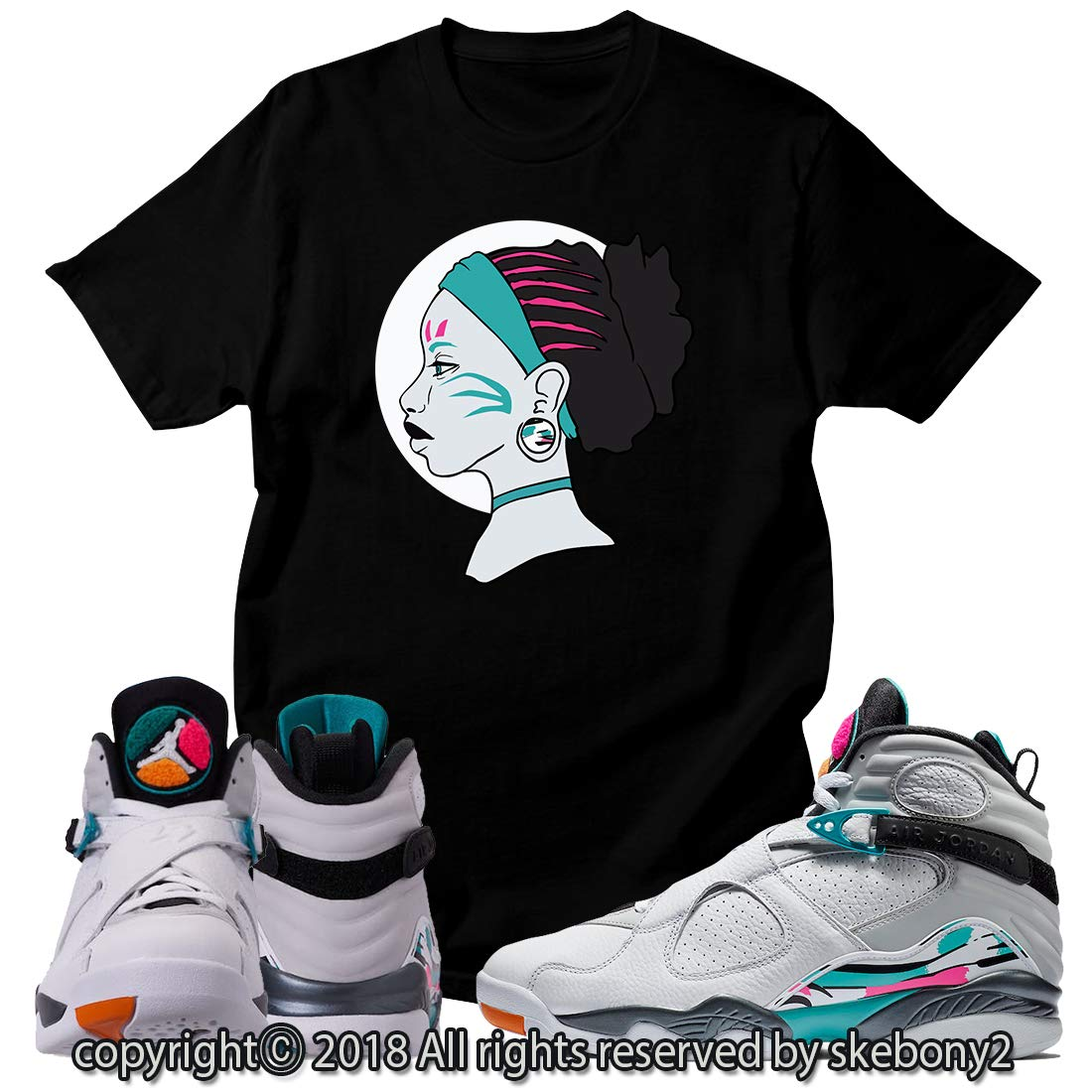 detailed look 9ebe1 dbbad Custom T Shirt Matching Style of Air Jordan 8 South Beach JD ...