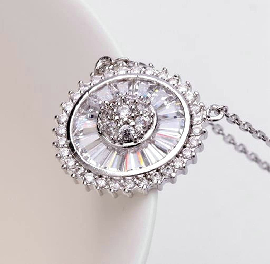 Aooaz Ladies Womens Silver Plated Pendant Necklace White Circle Crystal CZ Promise Wedding Necklace Charm