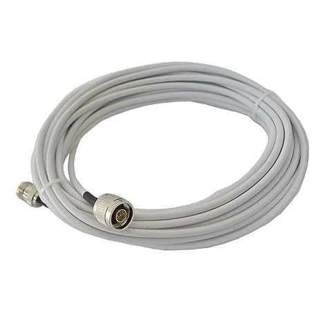 hjcintl 10 m Ultra baja pérdida Cable Coaxial RG58 50 - 3 Funda para cable de señal con tipo N macho a Tipo N hembra conector extremos: Amazon.es: ...
