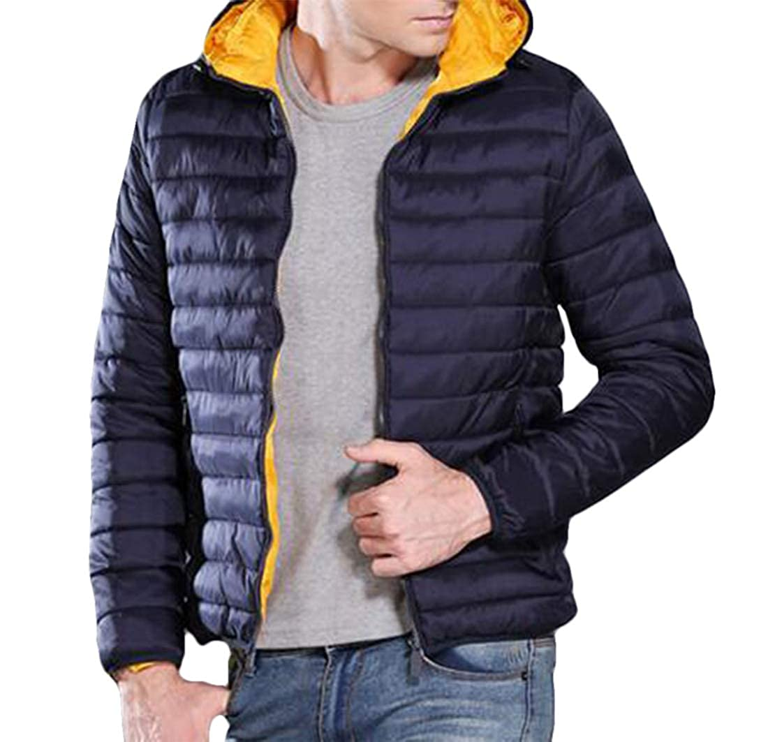 Hurrg Men Winter Packable Waterproof Warm Hooded Lightweight Padded Quilted Puffer Jacket