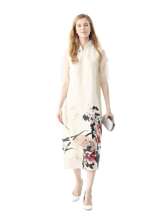 NITTA Women's Crane Floral Organza Midi Dress