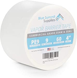 Blue Summit Supplies Vapor Barrier Tape, PE 9mm Polyethylene Tape Sealing Moisture Barrier Seam and Seal Tape for Crawl Space or Marine Use, Waterproof White 9 Mil Poly Tape, 3.78 Inch, 180 Foot Roll