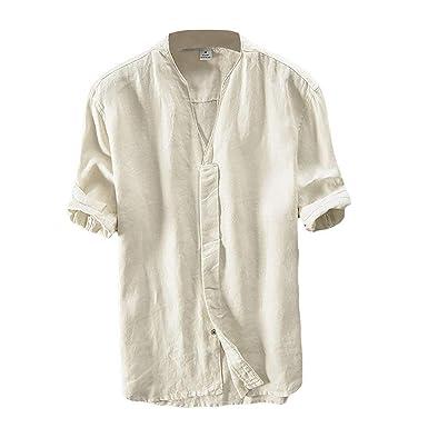 choisir véritable large éventail handicaps structurels Lin Chemise Homme Été Chemise Col en V Shirt Décontractée Manches Courtes  Slim Fit Blouse Tops Confortable Respirant