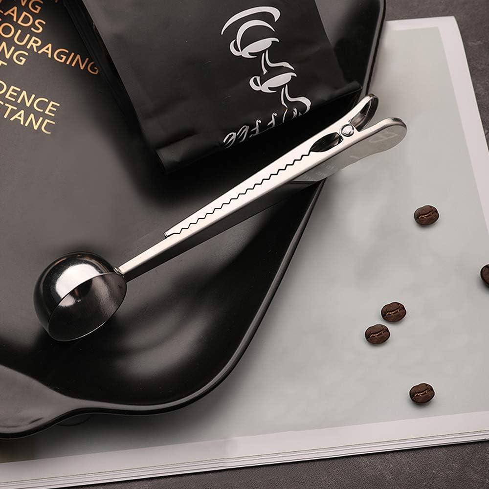 Edelstahl-Kaffeepulver-Messl/öffel mit Beutel-Verschlussclip multifunktionale Messl/öffelklemme Mostop 2 St/ück Kaffee-Messl/öffel-Clip