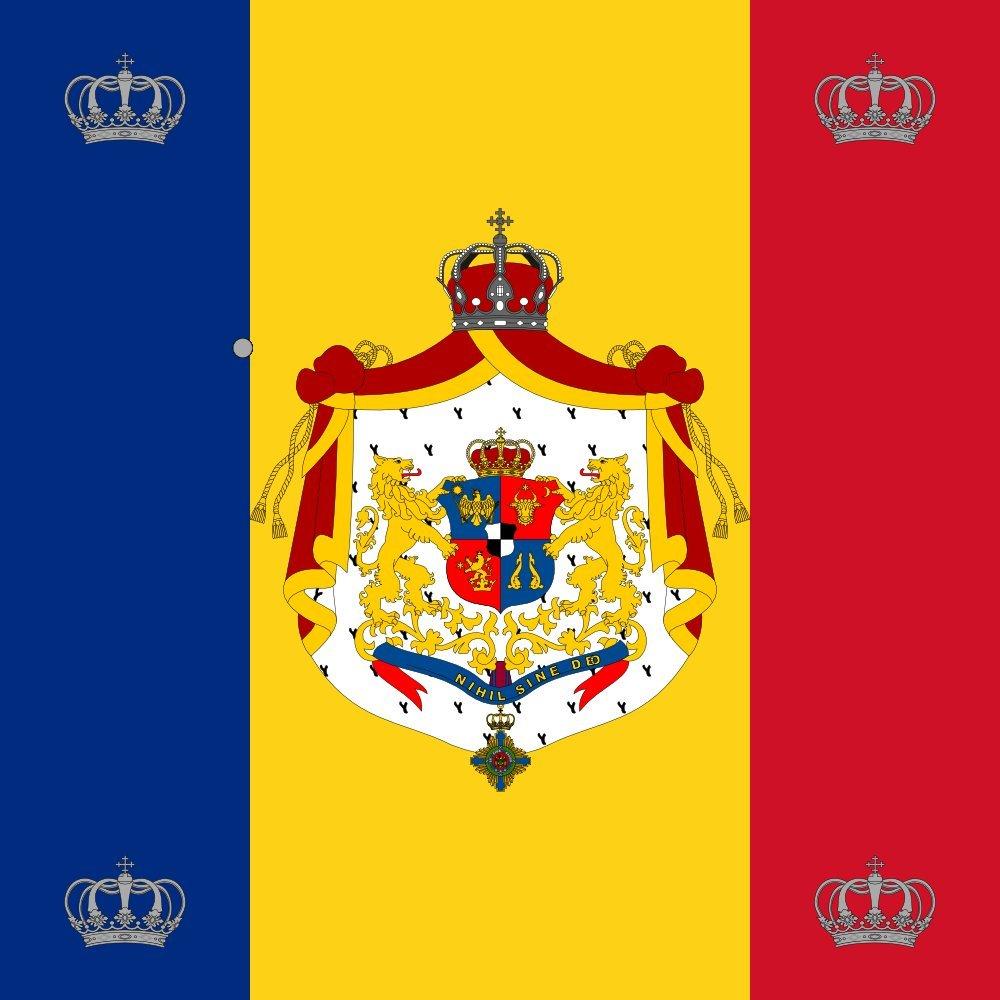 Drapeau Royal standard of Romania King 1881 model | 0.06m² pour Diplomat-Flags Drapeau de Voiture