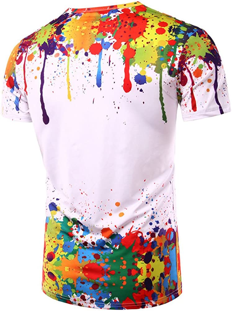 SFE Mens Fashion Shirts,Men Summer Short Sleeve Printed Ronud Neck Boy Shirt Blouse T-Shirt Tops