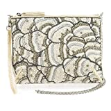 MARY FRANCES White On Embellished Crystals Top Zipper Crossbody Bridal Handbag