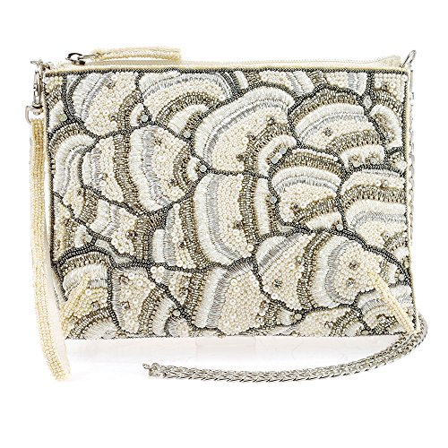 MARY FRANCES White On Embellished Crystals Top Zipper Crossbody Bridal Handbag by Mary Frances