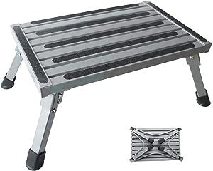 "Kesywale Portable RV Steps, 18.9"" x 11.8"" Folding Step Stool Aluminum Platform Step with Non-Slip Rubber Feet, 440LBS Capacity (18.9"" x 11.8"")"