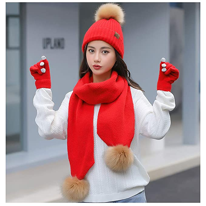 826cfd1757ac18 Amazon.com: Beanie Hat Scarf and Gloves Set Winter Warm Knit Hat ...
