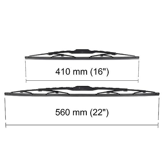 Escobillas limpiaparabrisas - Kit de luna delantera (conductor + copiloto) (560 mm / 410 mm) - 5902538541459: Amazon.es: Coche y moto