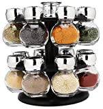 Smooth Spinning Spice Rack with 16 Round Refillable Glass Jars and Multi-Option Shaker Lids by EatNeat