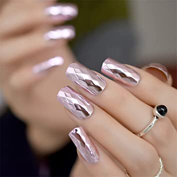Amazon.com : 3D Rhombus Metallic Pink False Fake Nails Metal Plating ...