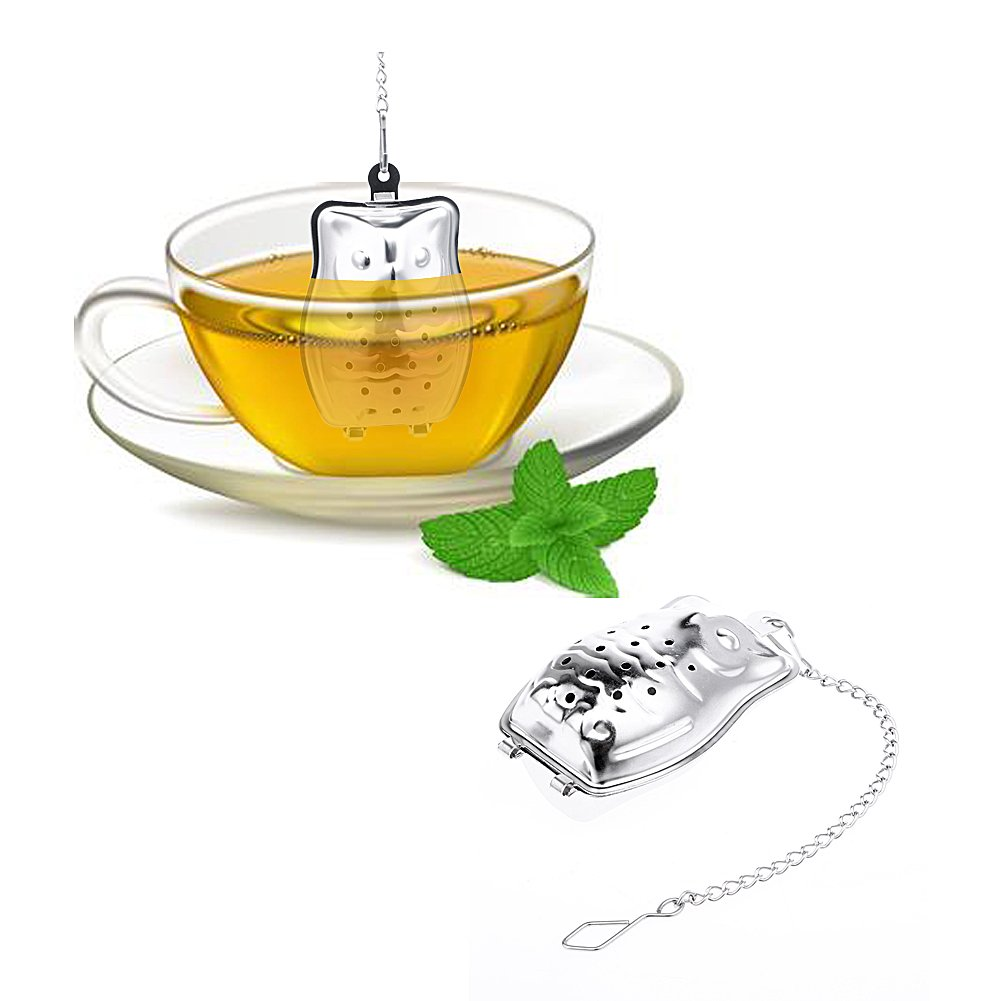 Funnytoday365 Creative Stainless Steel Owl Shaped Tea Strainer Herbal Spice Infuser Loose Leaf Infuser Tea Filter Herbal Spice Strainer by FunnyToday365 (Image #2)