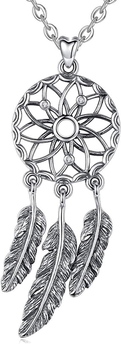 EUDORA Collar de Plumas Atrapasueños Colgante de Amuleto Vintage Bisuteria Mujer Regalos para Mujer Madre Hermana, 45,7cm