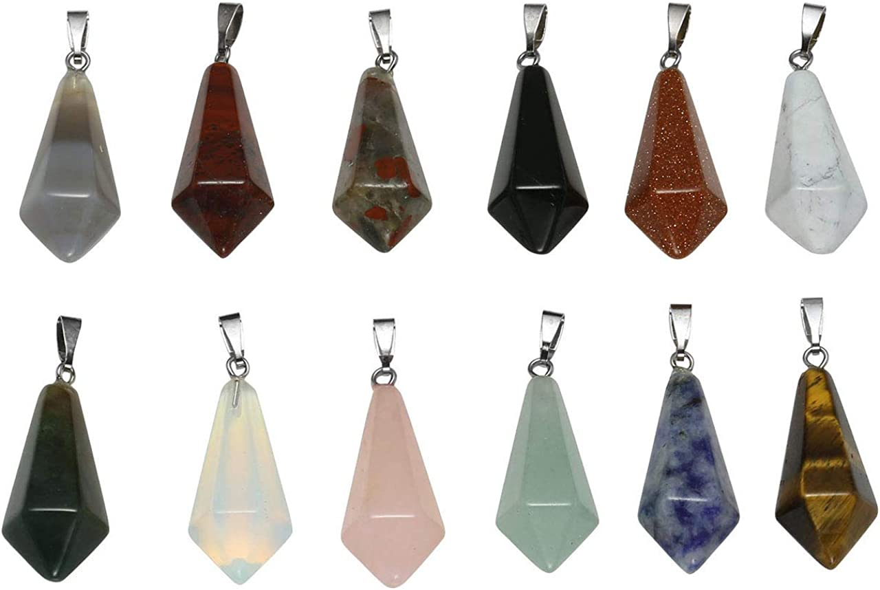 Jovivi joyería Juego de 12pcs Colgantes Pendientes para Bolsa Collar DIY de Piedra Chakra Naturales Gema Charm y Cristal, Prisma Hexagonal