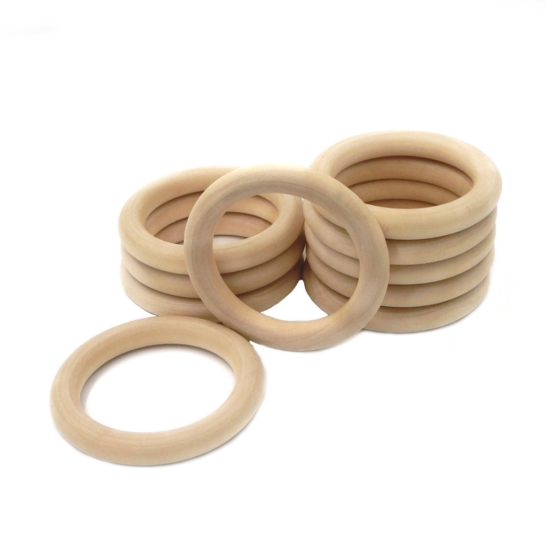 Amyster 20pcs Baby Wooden Teething Wood Ring 2.68 Inch Outer Diameter (68mm) Teething Rings Ring Throwing Games and More (20pcs)