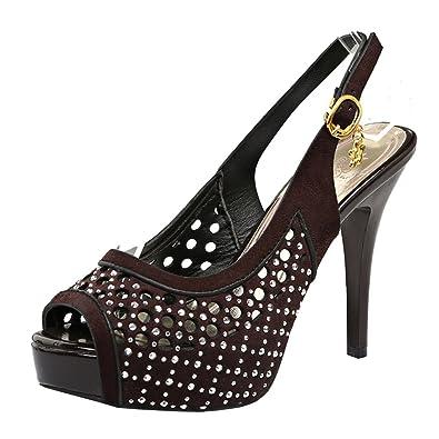 Agodor Damen Peeptoes Slingback Plateau Sandalen mit Riemchen und Strass High Heels Cut Out Pumps Stiletto Schuhe