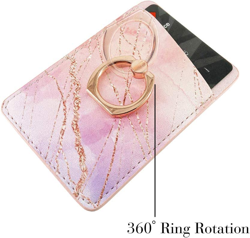 White Green Gold Marble Obbii Metallic Gold PU Leather Card Holder for Back of Phone with 3M Adhesive Stick-on Credit Card Wallet Pockets for iPhone and Android Smartphones