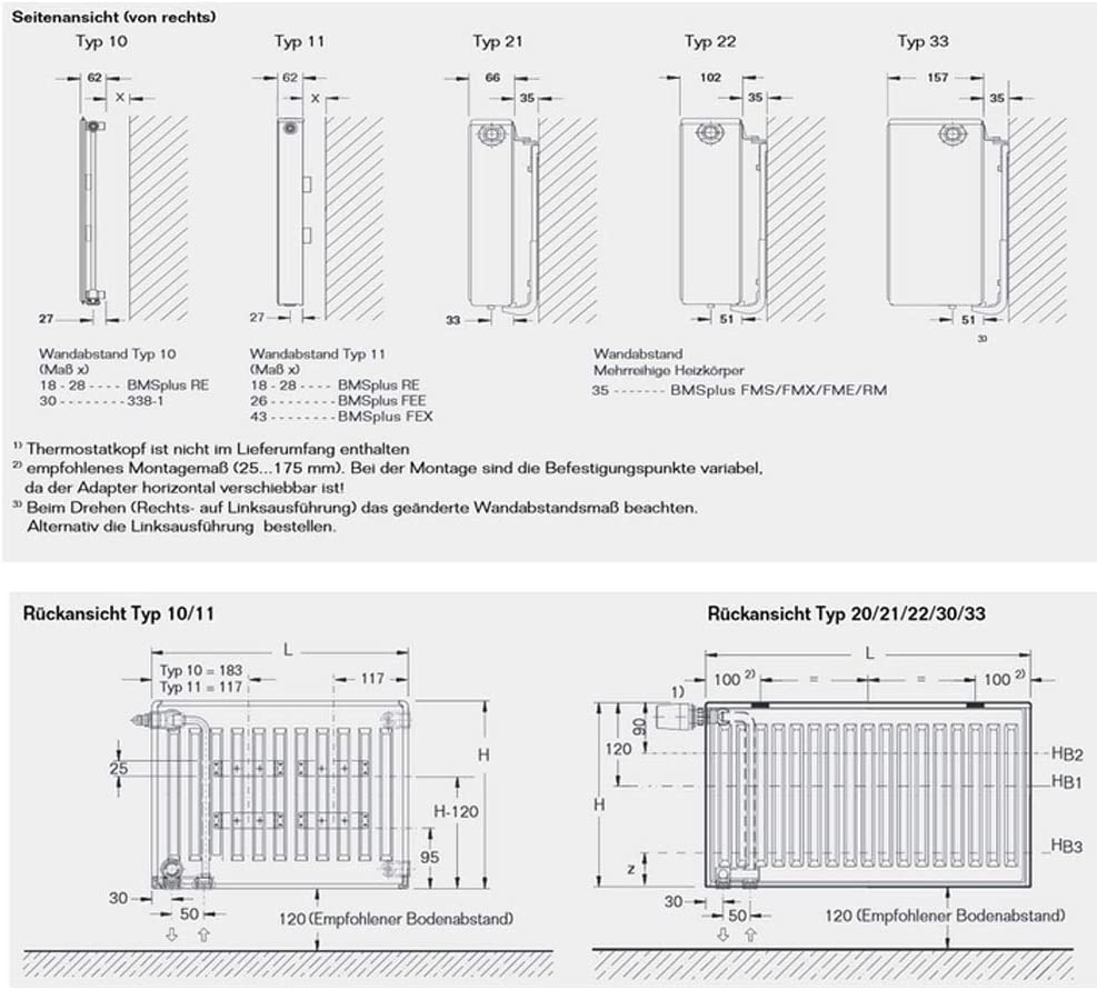 Buderus Logatrend Ventil-Flachheizk/örper VC-Profil Typ 22 BH 900 vers Halter BL: 800 mm L/ängen