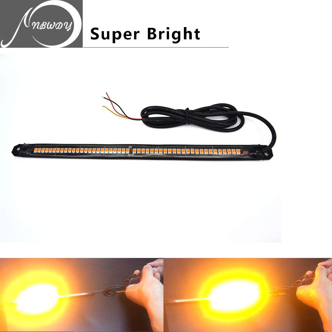 NBWDY Flexible DC12V 48SMD 8LED Light Strip Tail//Trailer//Turn Signal//License Plate Running Lights for Motorcycle Bike ATV Car RV SUV