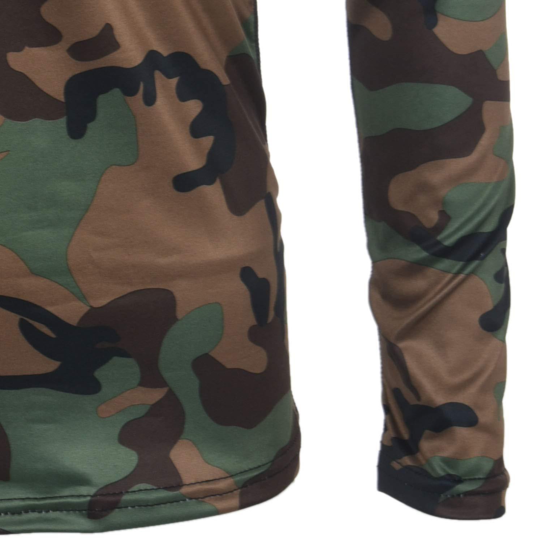 Camouflage L REFURBISHHOUSE Hommes Compression MMA Rashguard Fitness Chemises /à Manches Longues Couche De Base Peau Serr/ée Poids Levage Course /à Pied T-Shirts